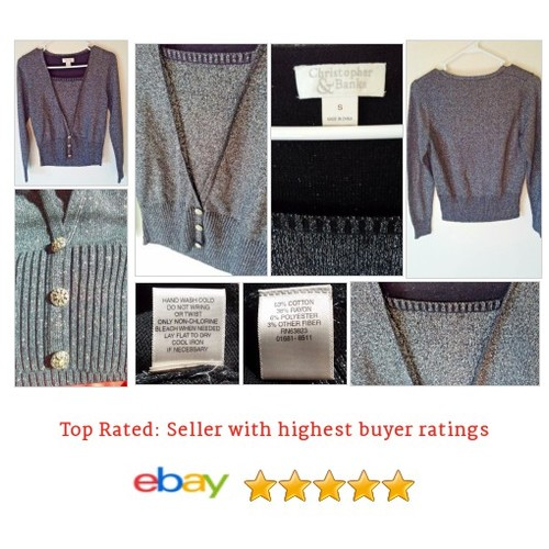 #Christopher&Banks #Sweater #Silver #Metallic Faux Wrap #Glitter | eBay  #etsy #PromoteEbay #PictureVideo @SharePicVideo