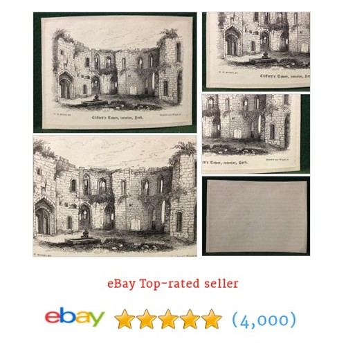 Antique Victorian Engraving Cliffords Tower, Interior, York - W.H #ebay @collectablebits  #etsy #PromoteEbay #PictureVideo @SharePicVideo