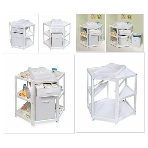 # Badger #Basket #Diaper #Corner #Baby #Changing #Table with #Hamper and #Basket, White #socialselling #PromoteStore #PictureVideo @SharePicVideo