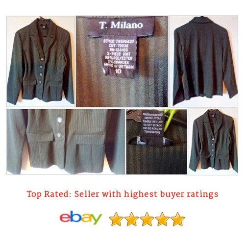 T. Milano #Blazer Size 10 Green Striped Career Light weight Spring Summer Work | eBay #Suit #TMilano #etsy #PromoteEbay #PictureVideo @SharePicVideo