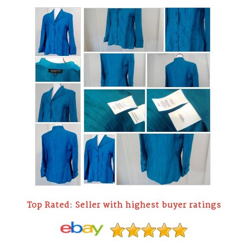 Size 10  #BLue #Linen Blend Crinkle Fabric Fun #Top #Blouse #JonesNewYork #etsy #PromoteEbay #PictureVideo @SharePicVideo