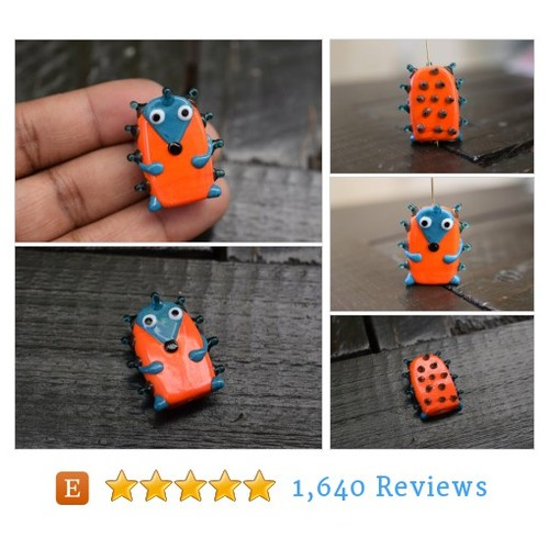 Handmade Whimsical Hedgehog Lampwork Glass #etsy @brasscharmco  #etsy #PromoteEtsy #PictureVideo @SharePicVideo