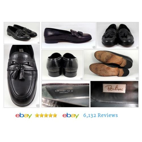 PERTIERI 12 W Mens Black Leather Loafers Size Kiltie Fringe Made in Spain #Loafer #SlipOn #etsy #PromoteEbay #PictureVideo @SharePicVideo