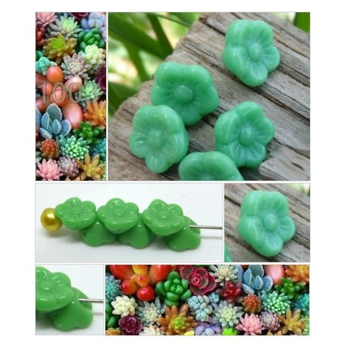 Diminutive Flower Buttons Vintage German Glass Flower Buttons Small Green Children's Buttons Jewelry Supply 4 Buttons - B226 #etsy #PromoteEtsy #PictureVideo @SharePicVideo