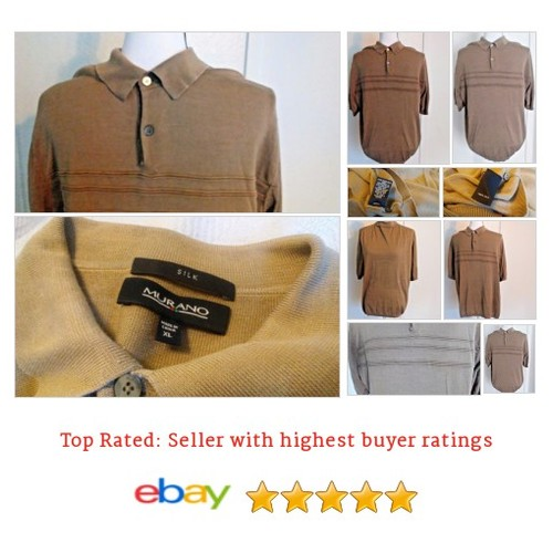 #Murano #Polo Size XL Men's 100% #Silk Short Sleeve #Brown @eBay #Rugby  #etsy #PromoteEbay #PictureVideo @SharePicVideo