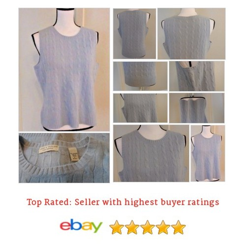 #Lord & #Taylor Women's Sweater Vest Size L 2 Ply 100% Cashmere Blue Cable Knit | eBay #Vest #etsy #PromoteEbay #PictureVideo @SharePicVideo