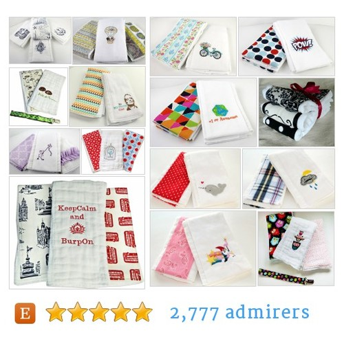 Burp Cloths by HarpAndSquirrel Etsy shop #BurpCloth @Spaghetti_Toes  #etsy #PromoteEtsy #PictureVideo @SharePicVideo