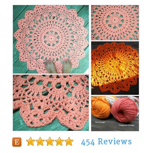 "Orange Cotton Crochet Doily Rug in 30"" #etsy @bycamille  #etsy #PromoteEtsy #PictureVideo @SharePicVideo"