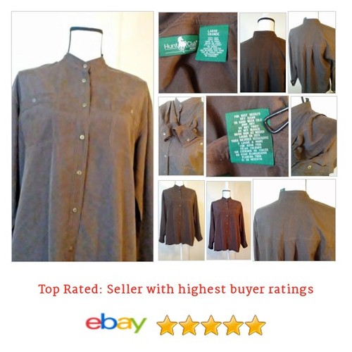 Hunt Club Women's #Blouse Long Sleeve 100% Silk Brown Metal buttons Size Large L | eBay #Top #HuntClub #etsy #PromoteEbay #PictureVideo @SharePicVideo