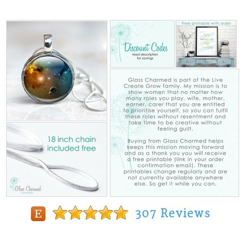Glass Galaxy Pendant - Glass Pendant #etsy @glasscharmed  #etsy #PromoteEtsy #PictureVideo @SharePicVideo