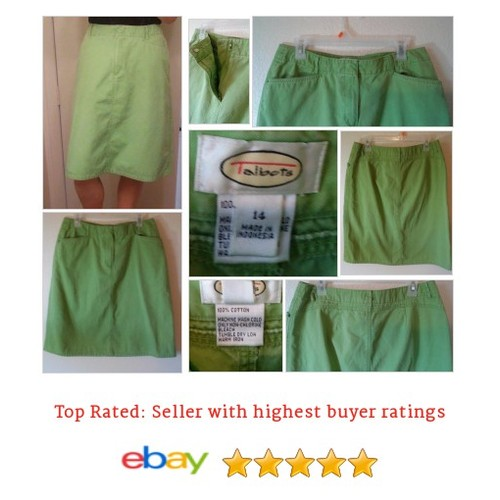 Talbots 100% Green Cotton A Line #Skirt Size 14 solid | eBay #ALine #Talbot #etsy #PromoteEbay #PictureVideo @SharePicVideo