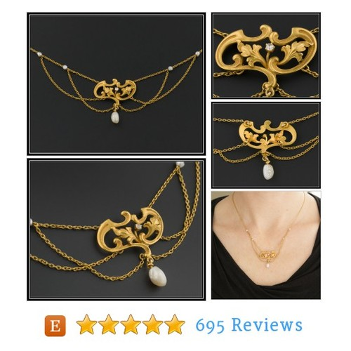 Art Nouveau 14k Gold & Pearl Festoon #etsy #PromoteEtsy #PictureVideo @SharePicVideo