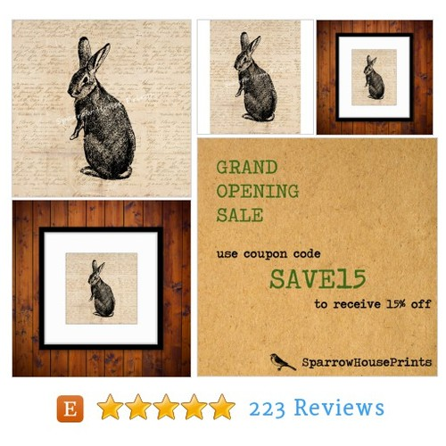 Rabbit Art Print Wall Art Bunny Home Decor #etsy @vintageretroatq  #etsy #PromoteEtsy #PictureVideo @SharePicVideo