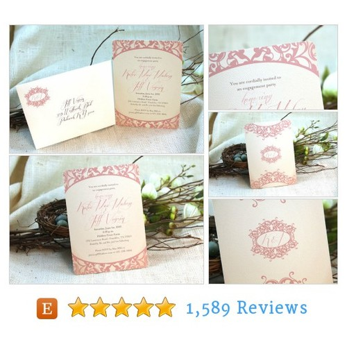 5x7 Pink Flourish Engagement or Bridal #etsy @nesting_project  #etsy #PromoteEtsy #PictureVideo @SharePicVideo