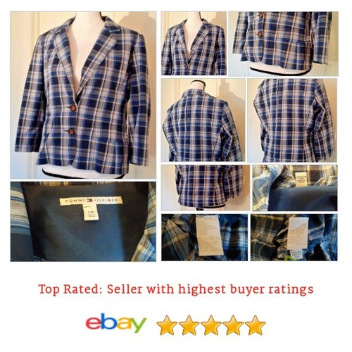 Tommy Hilfiger Women's #Blazer Size L Large Multi-color Plaid Cotton Spring Work #Suit #TommyHilfiger #etsy #PromoteEbay #PictureVideo @SharePicVideo