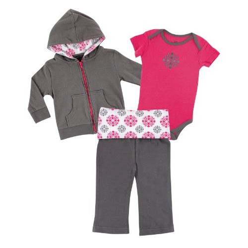 #Yoga #Sprout# Baby#Girls 3 Piece Hoodie Bodysuit and Pant Set, Pink Medallion, 9-12 Months #socialselling #PromoteStore #PictureVideo @SharePicVideo