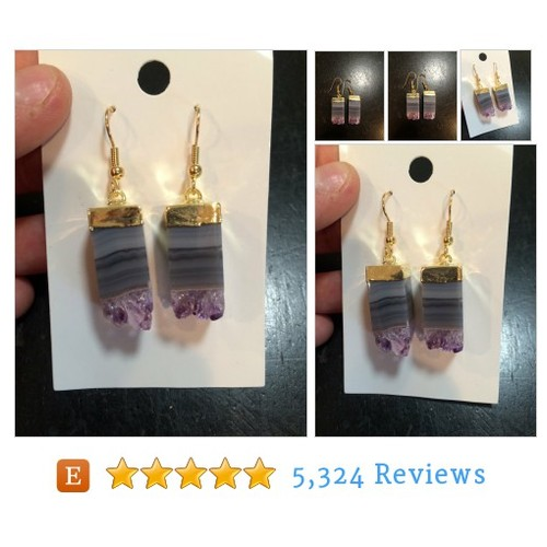 Gold dipped amethyst agate earrings - #etsy @newmoonbeginnin  #etsy #PromoteEtsy #PictureVideo @SharePicVideo