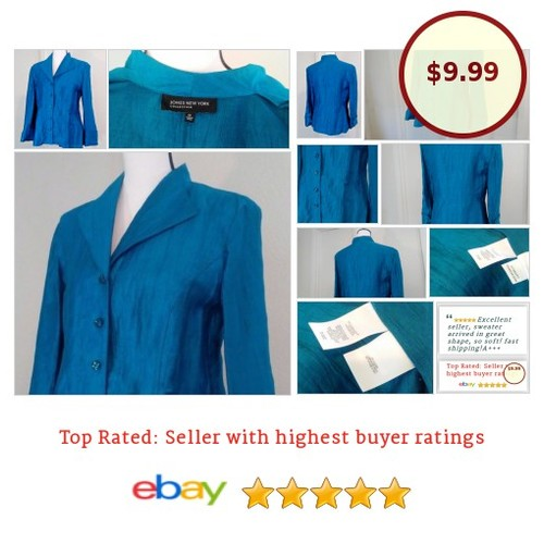 #Blue #Top Blouse #Linen Button Size 10 Medium #Steampunk  #Blouse #JonesNewYork #fashionista #fashion #auction #etsy #PromoteEbay #PictureVideo @SharePicVideo