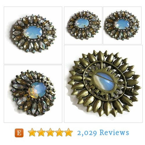 Art Deco Style Brooch signed N R Large Blue #etsy @myvintagejewel  #etsy #PromoteEtsy #PictureVideo @SharePicVideo