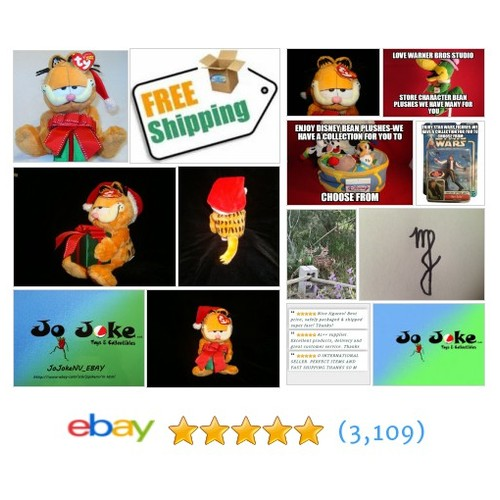 "TY GARFIELD SANTA-9""-NEW W/TAGS-FREE SHIPPING~!~-2005~! 