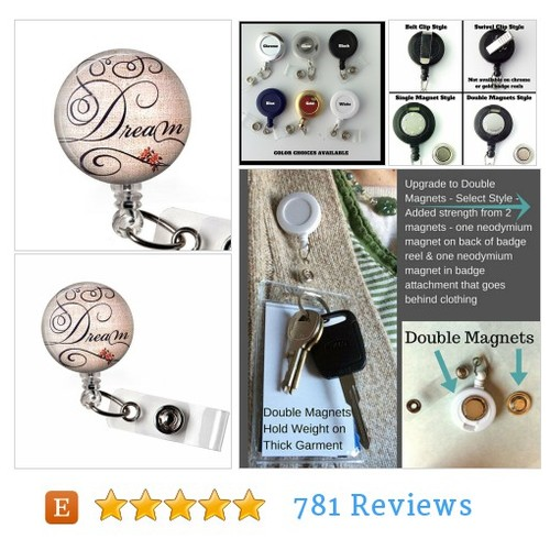 Dream Glass Dome Retractable ID Badge Reel, #etsy @plumbeadacious  #etsy #PromoteEtsy #PictureVideo @SharePicVideo