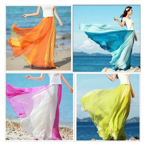 Orange Flowing Chiffon Skirt #shopify #PromoteStore #PictureVideo @SharePicVideo