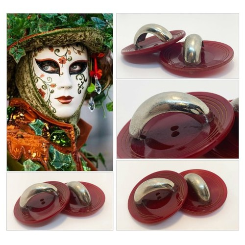 Huge Red Wine Celluloid Buttons with Metal Arch Collectible Vintage Button with Carved Edge Detail  #etsyspecialt #integritytt #SpecialTGIF #Specialtoo  @CoDWWIIScrims @FallingFearsRT #vintagebuttons #largecollectiblebuttons #redbuttons #etsy #PromoteEtsy #PictureVideo @SharePicVideo