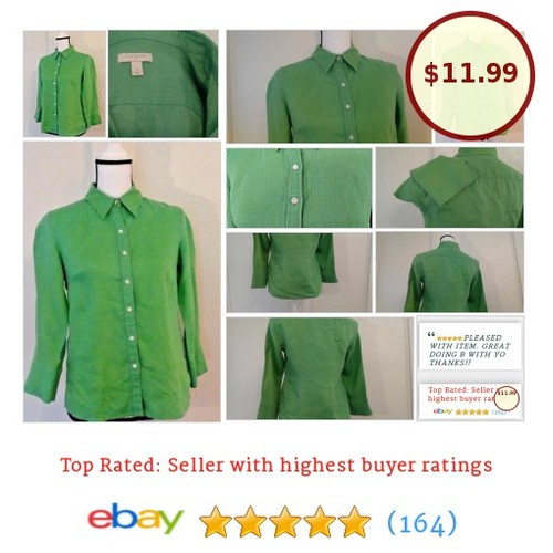Talbots Women's #Top Size 4 Button Green Linen Spring Fun Summer Picnic Date | eBay #Talbot #Blouse #etsy #PromoteEbay #PictureVideo @SharePicVideo