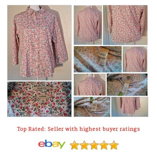 L. L. Bean Women's #Blouse Size L Cotton 3/4 Sleeve Button Down Roses Spring | eBay #Top #LLBean #etsy #PromoteEbay #PictureVideo @SharePicVideo