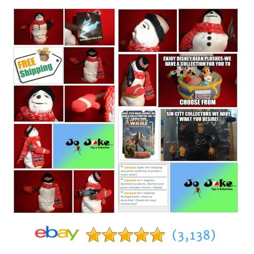 "WARNER BROS STORE-JACK FROST SNOWMAN-9""-BEAN PLUSH-NEW/TAGS-SCARF-MITTENS-HAT 