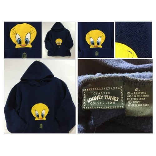 "TWEETY BIRD Hooded Fleece Kangaroo Pocket Adult Size XL LOONEY TUNES 54"" CHEST 