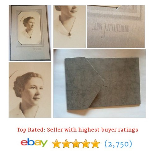 Pretty Nurse Photo 1930s Professional Portrait On Studio Card Vintage #ebay @seanyoldboy  #etsy #PromoteEbay #PictureVideo @SharePicVideo