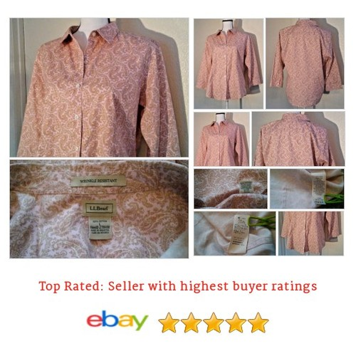 L. L. Bean Women's #Blouse Size L Cotton 3/4 Sleeve Button Down Paisley Spring | eBay #Top #LLBean #etsy #PromoteEbay #PictureVideo @SharePicVideo