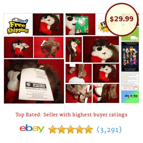 "WARNER BROS STUDIO STORES-TAZ WITH XMAS STOCKING-BEAN PLUSH-8""-NEW/TAGS-GRRRRR 