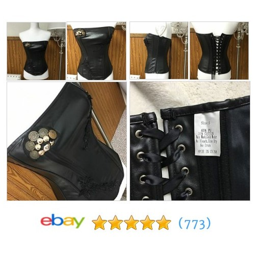 Black Leather Corset #ebay @aprilgbaby  #etsy #PromoteEbay #PictureVideo @SharePicVideo