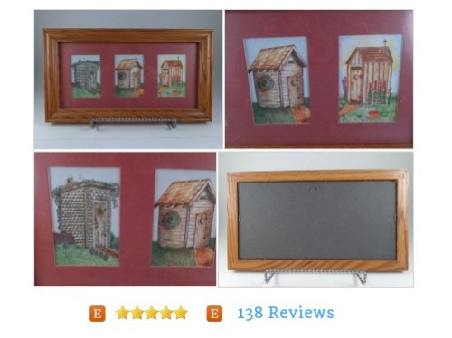 Cute Outhouse Art Trio - Matted Wood Frame Glass Michelle T Wall Hanging Picture #Vintage  #etsy #PromoteEtsy #PictureVideo @SharePicVideo