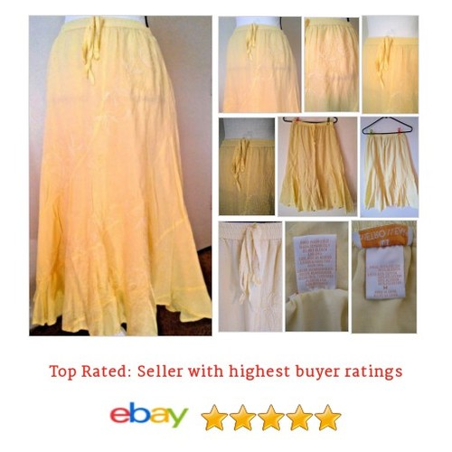 Metro Wear #Skirt Medium M Yellow #embroidered #flowers 10 #Boho #Peasant #etsy #PromoteEbay #PictureVideo @SharePicVideo