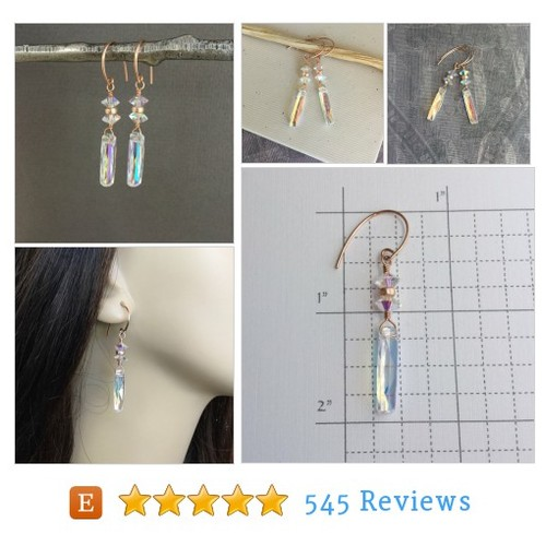 Aurora Borealis AB crystal bar earrings, #etsy @wshray  #etsy #PromoteEtsy #PictureVideo @SharePicVideo