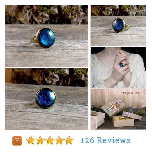 Dark blue ring, Night blue sparkly ring, #etsy #PromoteEtsy #PictureVideo @SharePicVideo