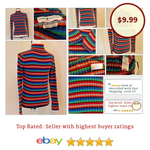 #TommyHilfiger Women's #Sweater Size M Multi-color Bright Spring 100% #Cotton | eBay #Mock #Turtleneck #etsy #PromoteEbay #PictureVideo @SharePicVideo