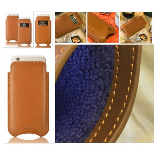 Tan Real Leather Built-in Screen Cleaning Technology iPhone 7 Plus sleeve case. #socialselling #PromoteStore #PictureVideo @SharePicVideo