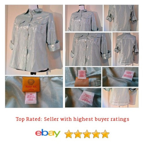 Ruby Rd. Women's Metallic Iridescent Blue Button Up #Blouse Shirt Size PL | eBay #Top #RubyRd #etsy #PromoteEbay #PictureVideo @SharePicVideo