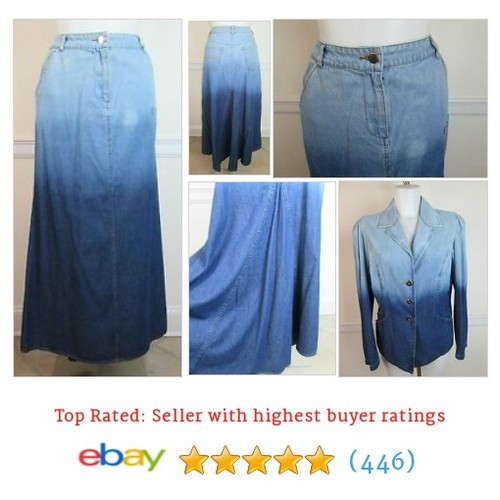 Denim Blue Jean Fishtail Skirt Long Women's Full Length size 10 #ebay @wrightrealtor4u  #etsy #PromoteEbay #PictureVideo @SharePicVideo
