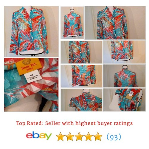 Ruby Rd Women's #Blouse Size 4P Button Multi-Color Sheer Bright Spring Date Fun | eBay #Top #RubyRd #etsy #PromoteEbay #PictureVideo @SharePicVideo