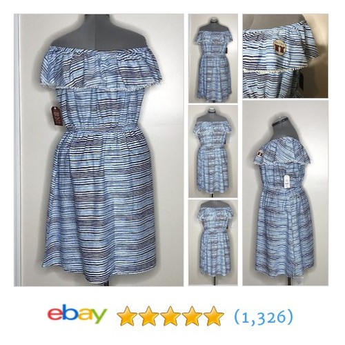 Women's Ruffled Off Shoulder Blue Stripe Dress Size 16-18 100% Cotton  | eBay #etsy #PromoteEbay #PictureVideo @SharePicVideo