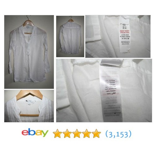 New Look Womans Shirt Size 10 White Fashion Designer Long Sleeve #ebay @ecomanfashion  #etsy #PromoteEbay #PictureVideo @SharePicVideo