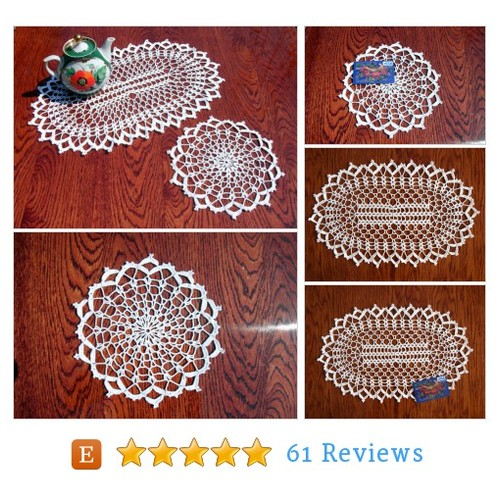 White lace doilies Oval crochet #doily #etsy @pollinka911  #etsy #PromoteEtsy #PictureVideo @SharePicVideo