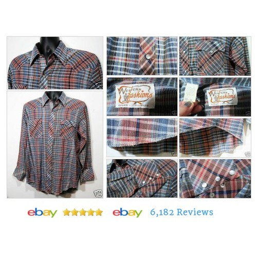 Western Fashions 17 34 Plaid Pearl Snap Mens Cowboy LS Rockabilly Shirt #MensVintageClothing #etsy #PromoteEbay #PictureVideo @SharePicVideo