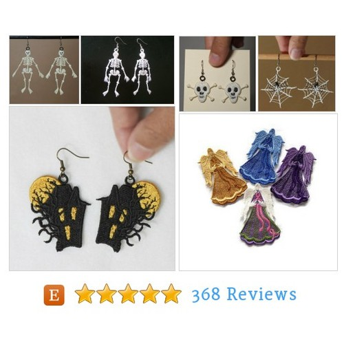 Glow in the Dark Skeleton Earrings, Lace #etsy @alidicreation  #etsy #PromoteEtsy #PictureVideo @SharePicVideo