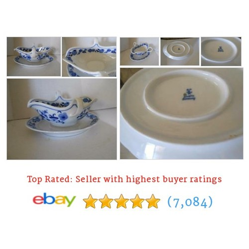 Meissen Blue Onion Gravy Boat Bavaria Germany Loop Handles And Tray #ebay @diverseblend  #etsy #PromoteEbay #PictureVideo @SharePicVideo